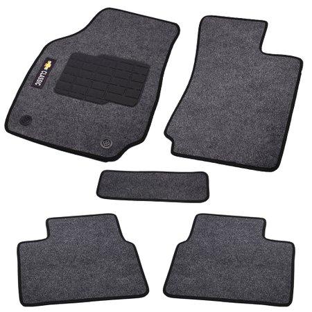 jogo de tapetes carpete classic 2011 preto com 5 peças