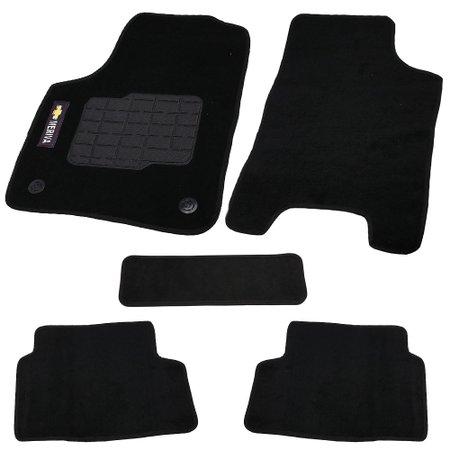 jogo de tapetes carpete meriva universal preto com 5 peças