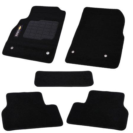 jogo de tapetes carpete cruze universal preto com 5 peças