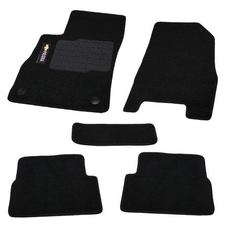 jogo de tapetes carpete prisma universal preto com 5 peças