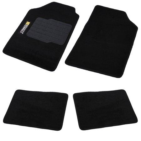 jogo de tapetes carpete renault universal preto com 4 peças