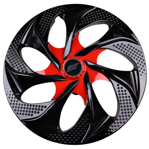 calota esportiva aro 14 evolution cubo alto 4 x 100/ 4 x 108 - black / red - 01 unidade