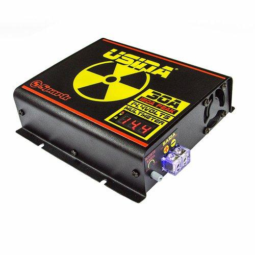 fonte automotiva 30a 14,4v com voltímetro/amperímetro digital bivolt automático