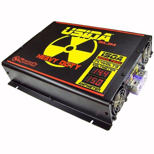 fonte automotiva 150a slim 14,4v com voltímetro/amperímetro digital bivolt