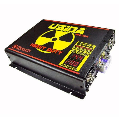 fonte automotiva 200a slim 14,4v com voltímetro/amperímetro digital bivolt aut.