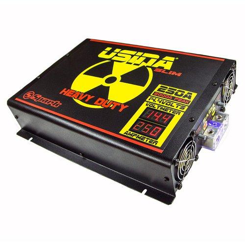 fonte automotiva 250a slim 14,4v com voltímetro/amperímetro digital 220v