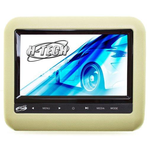 encosto de cabeça acoplável com monitor 9 pol. e leitor dvd/usb/mp3/mp4/mp5 bege