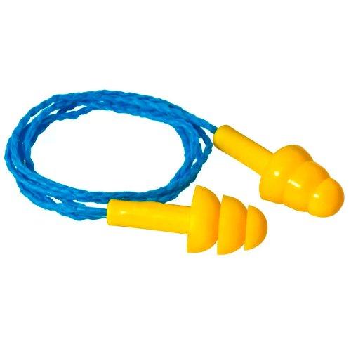 protetor auricular tipo plug em copolímero com cordão em algodão