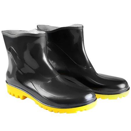 bota impermeável pvc acqua flex cano extra curto preto com solado amarelo n° 39