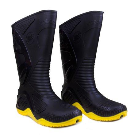bota de pvc n40 preto com sola amarela para motoqueiro