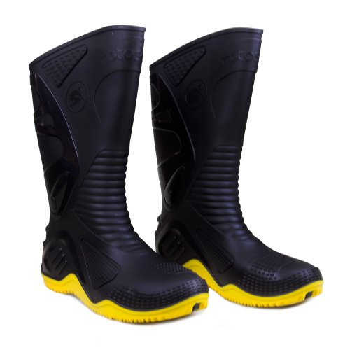bota de pvc n42 preto com sola amarela para motoqueiro