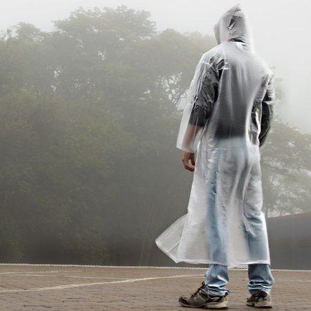 capa de chuva transparente com capuz e manga sem forro - gg