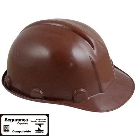 capacete de segurança marrom com aba frontal sem carneira
