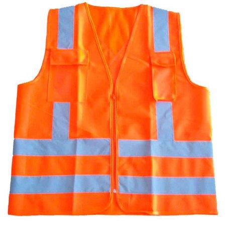 colete refletivo laranja com 2 bolsos e ziper - cg 04