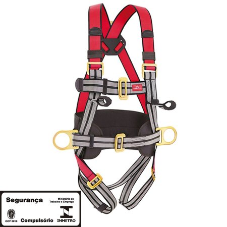 cinto de segurança tipo paraquedista com 3 pontos de ancoragem
