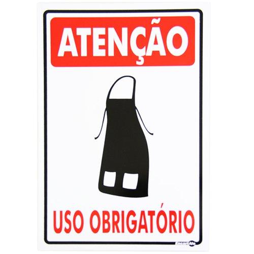 placa sinalizadora de atenção uso obrigatório avental