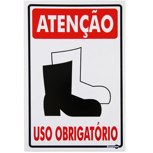 placa sinalizadora de atenção uso obrigatório de bota