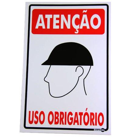 placa sinalizadora atenção uso obrigatório (capacete)