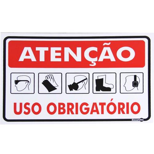 placa sinalizadora atenção uso obrigatório
