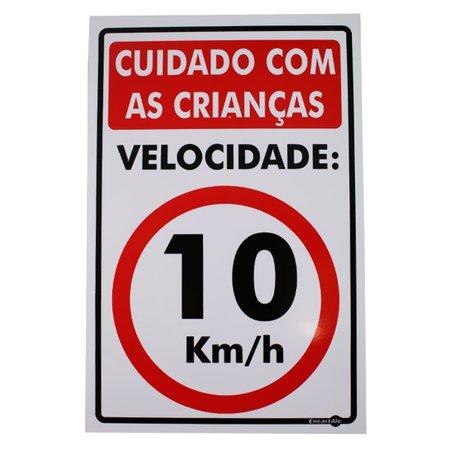 placa sinalizadora de cuidado com as crianças 10 km/h - 20 x 30 cm
