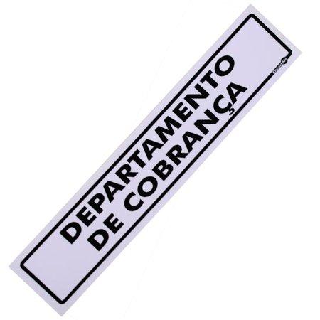 placa sinalizadora de departamento de cobrança