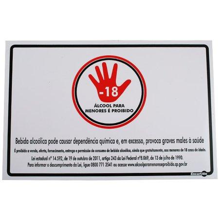 placa sinalização álcool para menores é proibido