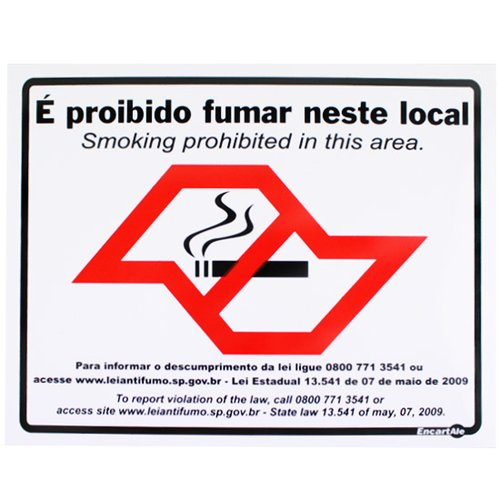 placa sinalizadora de proibido fumar com mapa de são paulo bilíngue