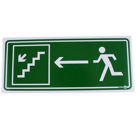 placa sinalizadora de saída de emergência pela escada à esquerda