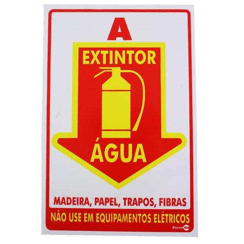placa sinalizadora extintor água