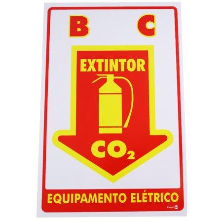 placa sinalizadora extintor c.o.2 equipamento elétrico