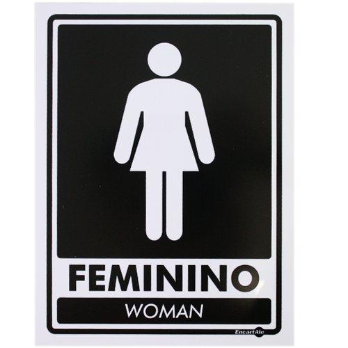 placa sinalizadora feminino woman (bilingue)