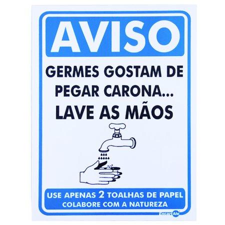 placa sinalizadora atenção germes gostam de pegar carona