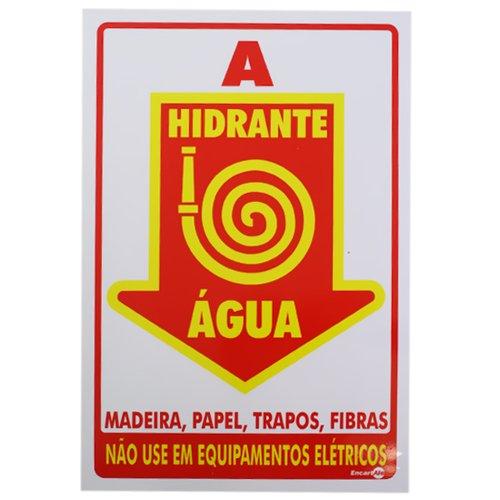 placa sinalizadora hidrante água