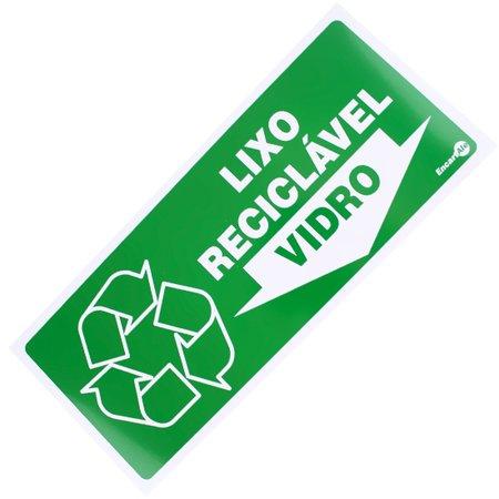 placa sinalizadora para lixo reciclável para vidro