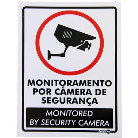 placa sinalizadora monitoramento por câmera (bilingue)