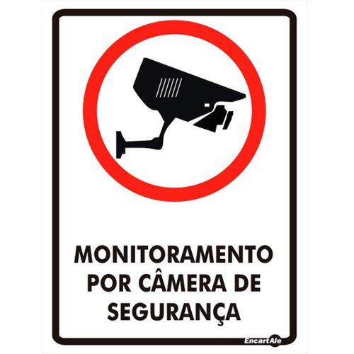 placa sinalizadora monitoramento por câmera de segurança