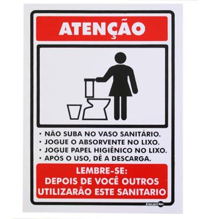 placa sinalizadora atenção não suba no vaso sanitário
