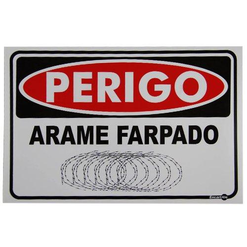 placa sinalizadora perigo arame farpado