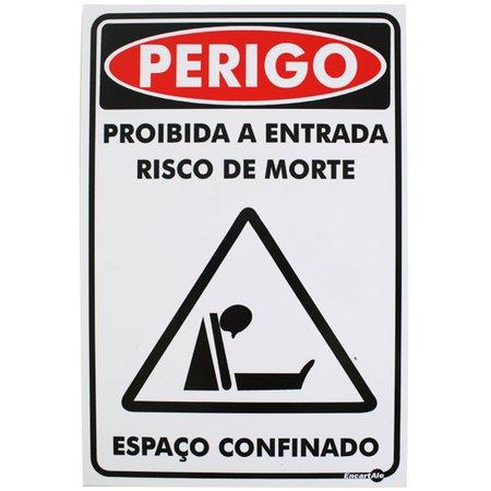 placa sinalização perigo espaço confinado