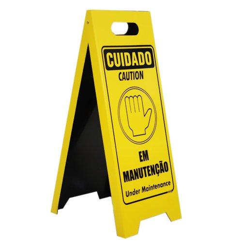 placa sinalizadora dobrável / cavalete de cuidado em manutenção bilíngue