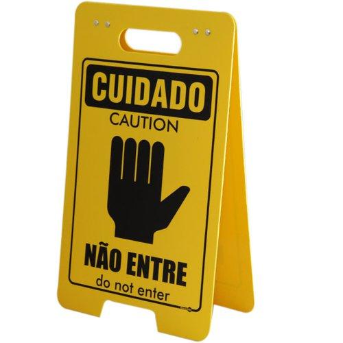 placa sinalizadora dobrável / cavalete de cuidado não entre bilíngue