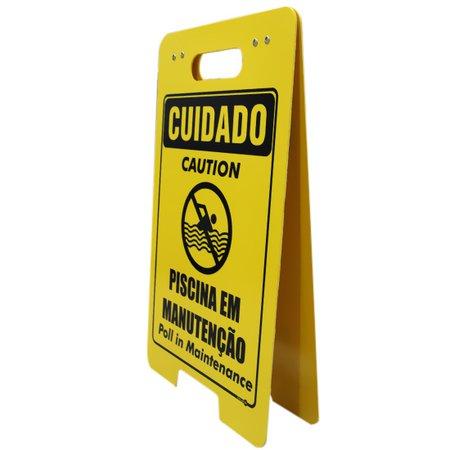 placa sinalizadora dobrável / cavalete de cuidado piscina em manuntenção bilíngue
