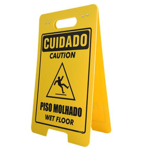 placa sinalizadora dobrável / cavalete de cuidado piso molhado bilíngue