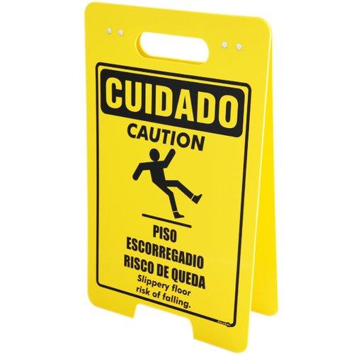 placa sinalizadora dobrável / cavalete de cuidado piso escorregadio bilíngue