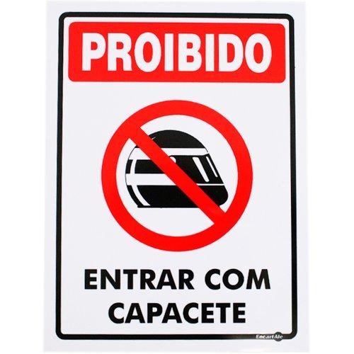 placa sinalizadora proibido entrar com capacete