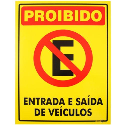 placa sinalizadora proibido estacionar entrada e saída de veículos