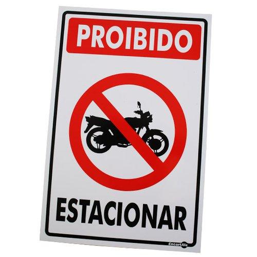 placa sinalizadora de proibido estacionar motocicletas