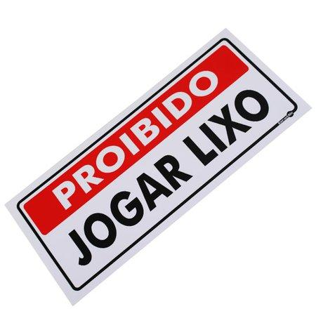 placa sinalizadora proibido jogar lixo 13 x 30 cm