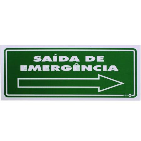 placa sinalizadora de saída de emergência à direita