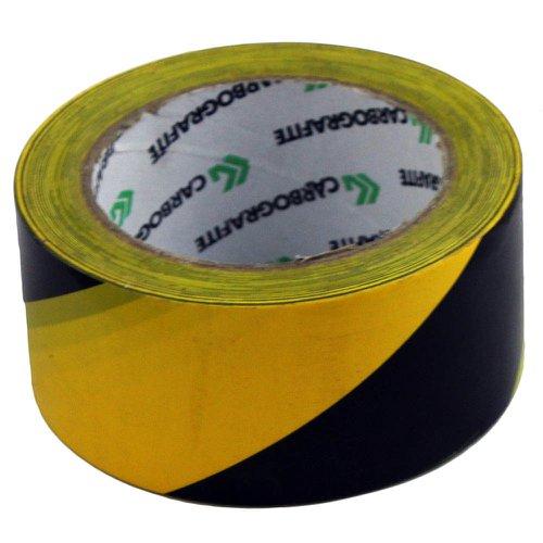 fita adesiva de demarcação preta / amarela 50mm x 30m